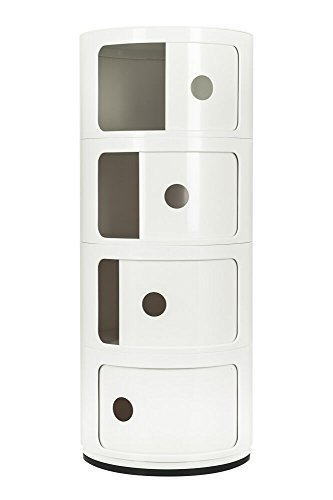 Costello 4 TIER ROUND STORAGE UNIT OFFICE KITCHEN RACK CADDY DRAWER BEDSIDE UNIT TABLE CHEST (4 TIER ALL WHITE)