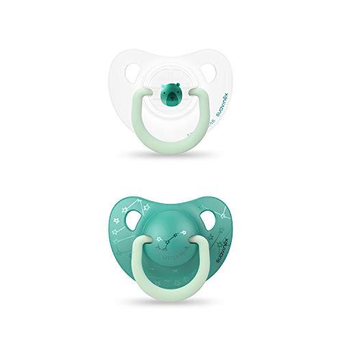 Suavinex 306803 - Pack 2 Chupetes Nocturnos para bebés 0-6 meses con Anilla Luminiscente Tetina Anatómica de Silicona Brilla en la Oscuridad, Verde