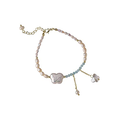 Irregular Shape Freshwater Cultured Pearls Bracelet, Personalized Crystal Butterfly Pendant Beads for Women, Gift for Baby Daughter Anniversary Birthday