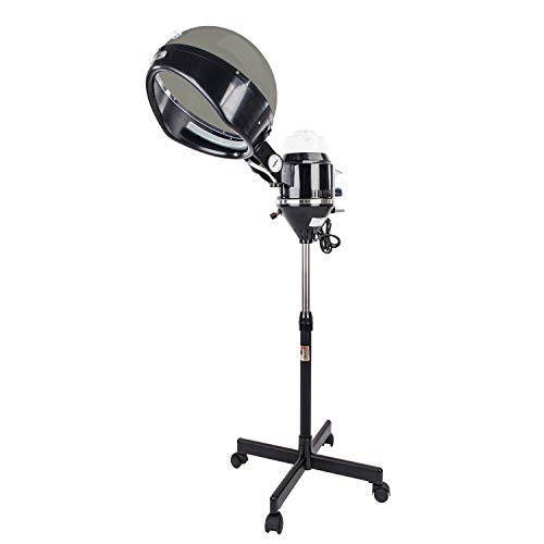 Mefeir 600W Professional Salon Hair Steamer Stand Up with Hood,Rolling Floor Iron Base,Adjustable Timer,2 Speeds,Portable Color Processor for Natural Curly Hair Treatment Barber Spa Tools