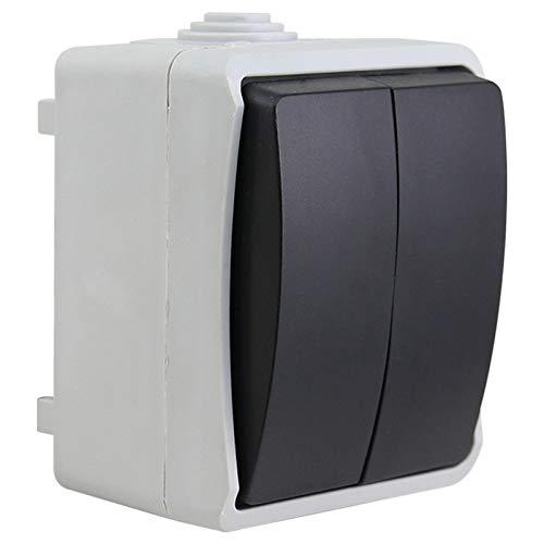 Luoshan IP44 a Prueba de Agua Cocina Baño Doble conexión de Interruptor de Control Individual, Enchufe de la UE