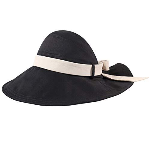 KESYOO chapéu de sol feminino de aba larga com viseira dobrável anti-UV verão praia com cordão de pescoço para viagens ao ar livre e pescaria, Preto, L