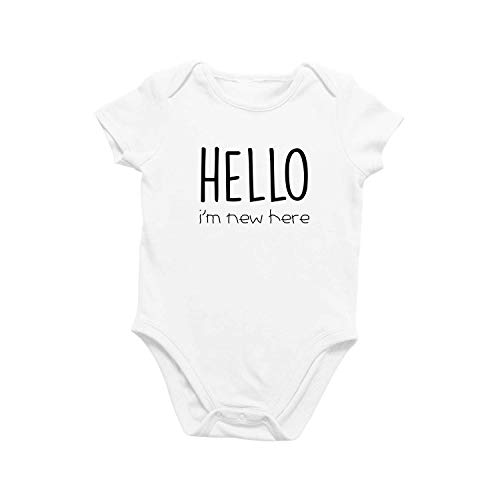 Onesie Organic Baby One Piece Short Sleeve Cute Trendy Minimal Bodysuit 0-12 Months - Hello I'm New Here (0-3 Months) White