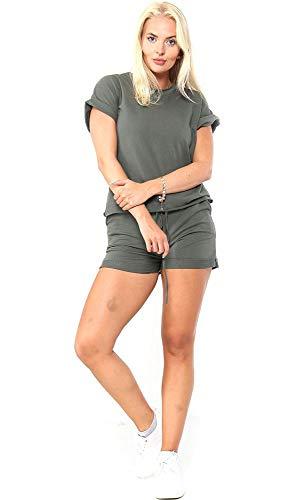Elite Pleasure Womens Ladies Plain Short Sleeve Top 2 Pocket Shorts 2pcs Co Ord Set Tracksuit Khaki Plus Size (UK 14/16)