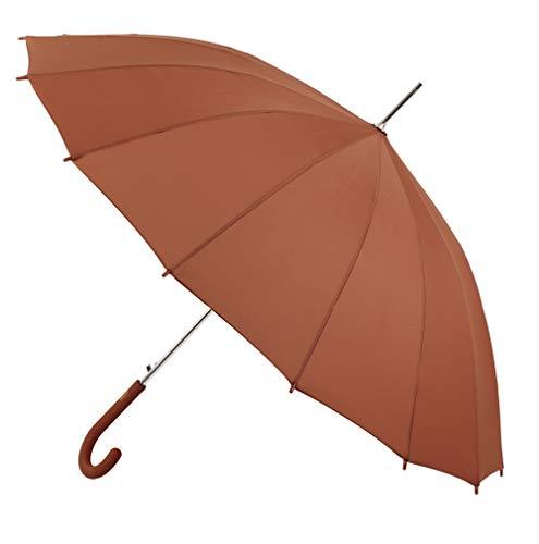 Langer Vogue Regenschirm mit 16 Stangen. Schöne und Elegante Form eines offenen Glases. 12 Farben Automatische Öffnung und Windschutz Hellrot