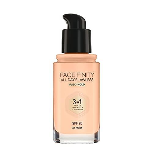 Max Factor Facefinity All Day Flawless Fondotinta 3 in 1, (primer, correttore e fondotinta) per una finitura perfettamente opaca, da 30 ml (etichetta in lingua italiana non garantita)