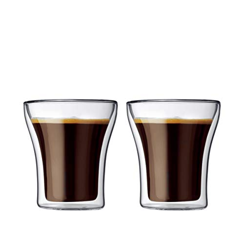 Bodum ASSAM  Coffee Glass Set (Double-Walled, Dishwasher Safe, 0.2 L/7 oz) - Pack of 2, Transparent