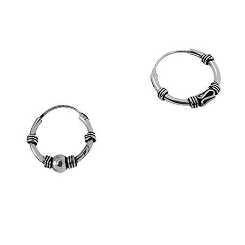 2 pendientes aros distintos diseño bali plata de ley individuales 17mm diámetro exterior