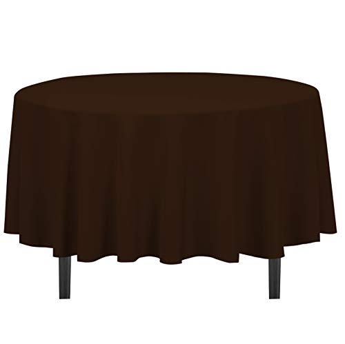 LinenTablecloth 90-Inch Round Polyester Tablecloth Chocolate