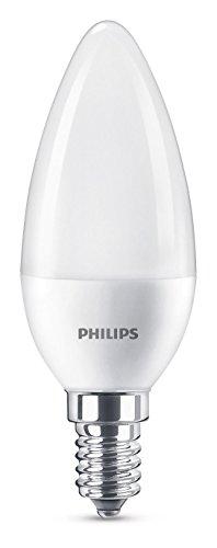 Philips bombilla LED vela mate casquillo fino E14, 7 W equivalentes a 60 W en incandescencia, 806 lúmenes, luz blanca cálida