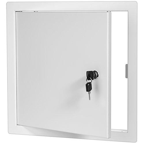 Premier 2002 Series Steel Access Door, 8 x 8 Flush Universal Mount, White (Keyed Cylinder Latch)