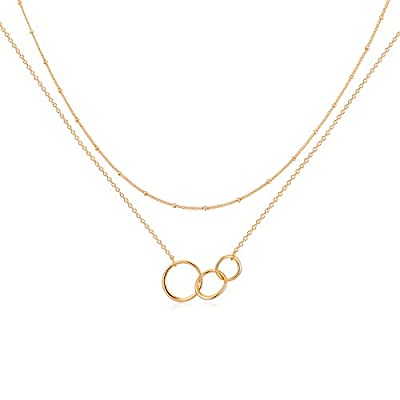 Gold Dainty Generations Necklace for Grandma Layered 3 Circles Necklace 18k Gold Plated 3 Interlocking Infinity Circles Mom Granddaughter Mothers Day Jewelry Birthday Gift