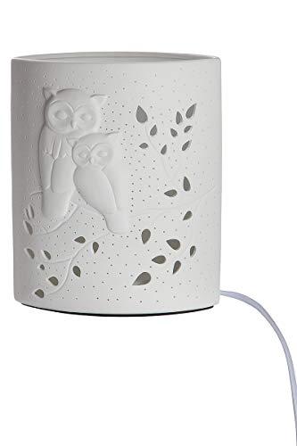 GILDE Lampe Eulenpaar - Ellipse aus Porzellan mit Lochmuster Prickellock H 20 cm