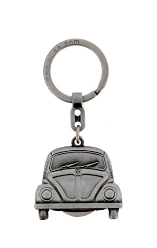 Brisa VW Collection - Volkswagen Classic Beetle Car Bug Key Ring Chain with Removable Coin in Embossed Gift Tin, Gift Idea/Fan Souvenir/Retro Vintage Product (Vintage Silver)