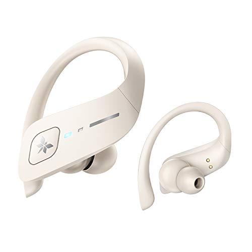 Axloie Auriculares Inalambricos Deporte IPX7 Impermeable 35H Autonomía Auriculares Bluetooth 5.0 Deportivos Cascos Inalambricos con Caja de Carga Running Blanco