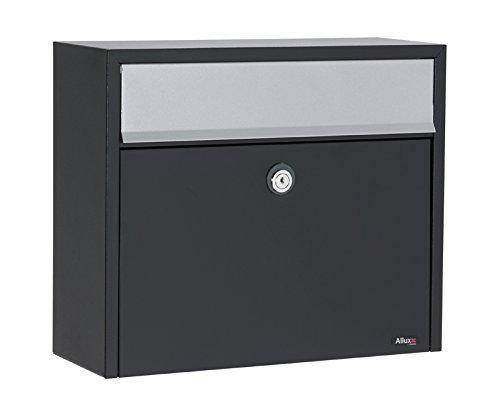 Allux LT150S Postfach F47273 Briefkasten | Wasserdichte Abschließbare Sichere Paketkasten | 330 x 390 x 150 mm | Schwarz und Euro Schloss