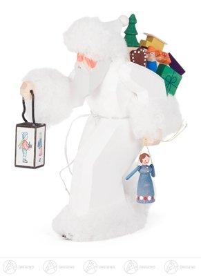 Schnitzerei Nikolaus mit Pelz weiß, geschnitzt Höhe ca 19 cm NEU Erzgebirge Weihnachtsfigur Holzfigur