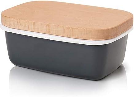 GA Homefavor Emaille Butterdose mit Holzdeckel, Grau preisvergleich bei geschirr-verleih.eu