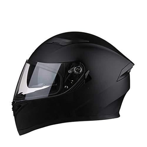 フルフェイスヘルメット ダブルシールド くもり止め helmet uvカット メンズ レディース おおきいサイズ オールシーズン 内装 洗濯可 通気吸汗 おしゃれ バイク ヘルメット マットブラック・クリアシールド 3XL 頭囲 64-65cm