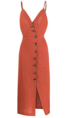 TOP-MAX Women's Dresses-Summer Spaghetti Strap Sleeveless Split Cocktail Party Casual Button Down Midi Dress FireBrick