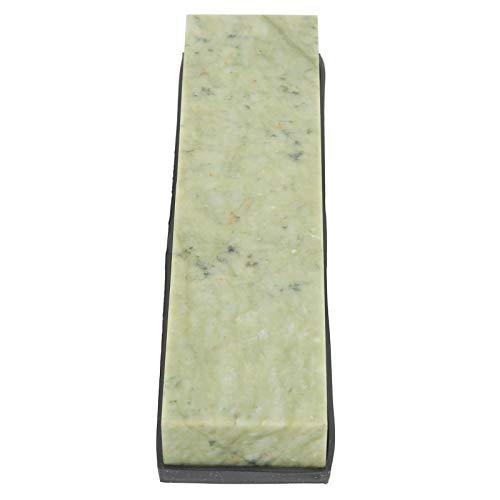 Socobeta Afilador de Cuchillos de Piedra de afilar Piedra de afilar de Aceite de Piedra Verde Natural Piedra de afilar con Base de Silicona Uso en el hogar