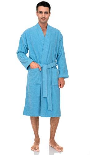 TowelSelections Men's Robe, Turkish Cotton Terry Kimono Bathrobe Small/Medium Blue Grotto