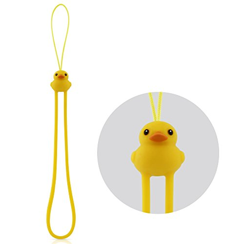Multi-Purpose Hand Wrist Strap with Cute Animal Cartoon Phone Charm Elastic Silicone Lanyard Bracelet for Cell Phone iPhone Case ID Holder Name Badge Keys Keychain USB Flash Drive - Duck