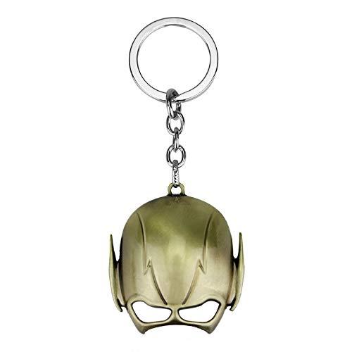 Neaer Schlüsselanhänger Fashion Comics Superheld The Flash Mask Helm Metall Schlüsselanhänger für Damen Herren Fans Schmuck Geschenk Schlüsselanhänger (Farbe: Gold)