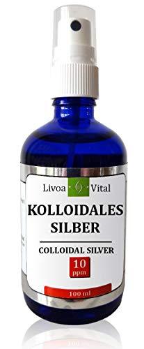 Kolloidales Silber Spray 10 PPM - Silberwasser Spray in 100 ml Sprühflasche - Hohe Wirksamkeit durch Spezielles Verfahren - Ideal Für Zuhause Und Unterwegs