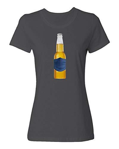 Sheki Apparel Coronavirus 2020 Beer Drinking Covid 19 Humor Ladies Crewneck T-Shirt (Gray, Large)