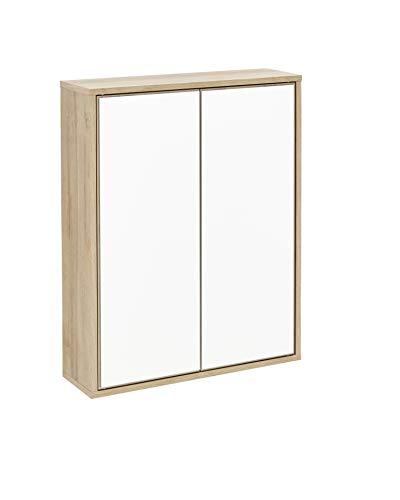 FACKELMANN Spiegelschrank Finn/Badschrank mit Push-to-Open/Maße (B x H x T): ca. 60 x 75 x 20,5 cm/Schrank fürs Bad mit 2 Türen/Korpus: Braun hell/Front: Spiegel/Rahmendekor: Braun hell