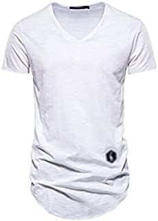 Fbnzmluqdx Tshirt for Men Cotton Men's T Shirt Casual Solid Color Long Style T Shirt for Men Summer Quality Streetwear Top...