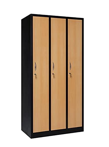 furni24 Garderobenschrank 90 cm x 50 cm x 180 cm schwarz/buche 3-türig 30 cm Abteilbreite fertig montiert Verschiedene Ausführungen verfügbar