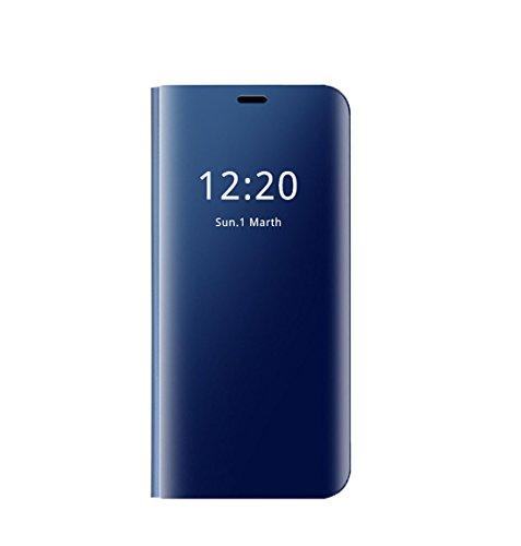Custodia Samsung Galaxy S7/S7 Edge Cover Clear View Standing Cover Mirror Flip Custodia 360 Gradi Protezione Portafoglio Elegante Flip Case Copertura (S7, Blu)