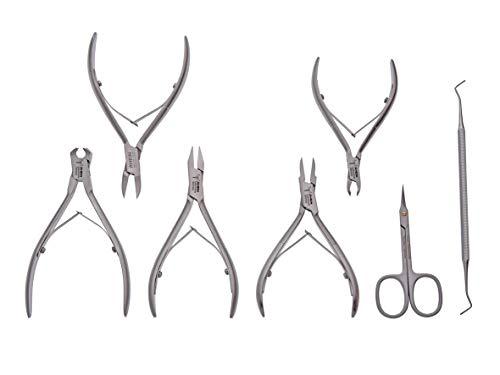 Nagelzange-Podologie Instrumente Set- SPEZIAL -7- teilig-speziell für tiefeingewachsene Nägel- 2xNagelzange+ 2x feine Eckenzange Turmspitze+Hautschere+ Hautzange+Nagelreiniger- Edelstahl