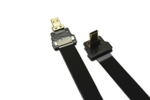 Flat Slim Thin Small HDMI FPV HDMI Cable Micro HDMI 90 Degree Angled Male to Micro HDMI Straight Male for brushless Gimbal handhold Gimbal dsrl FPV DJI Drone Black 30CM