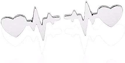 JUESJ Fashion ECG Heartbeat Wave Current Lightning Heart Stud Earring for Boy Girls Birthday Gifts