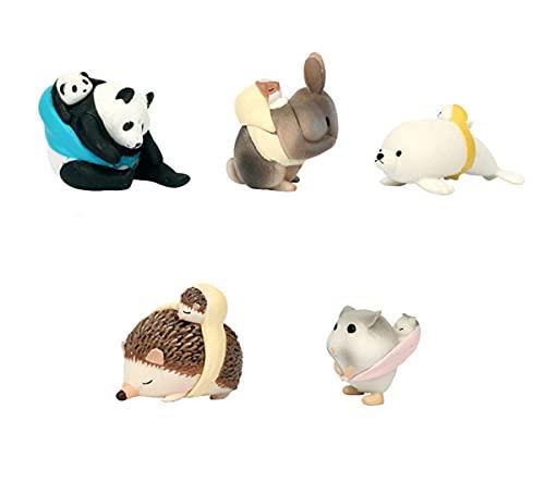 Jardín En Miniatura Mamá Y Niño Panda Conejo Foca Erizo Hámster/Miniaturas/Animales Encantadores/Gnomo De Jardín De Hadas/Decoración De Terrario/Modelo De Juguete/Estatuilla Marrón