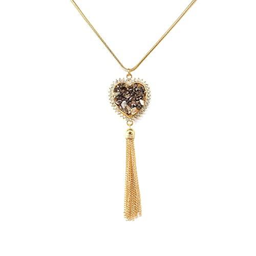 Haowen Joyas Piedra triturada Aleación en Forma de corazón Colgante Collar Suéter Cadena Oro 85 + 5cm