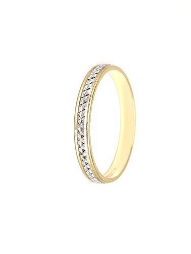 Anillo alianza oro 18 ct blanco o bicolor acabado biselado (Oro Blanco y Amarillo, 28)