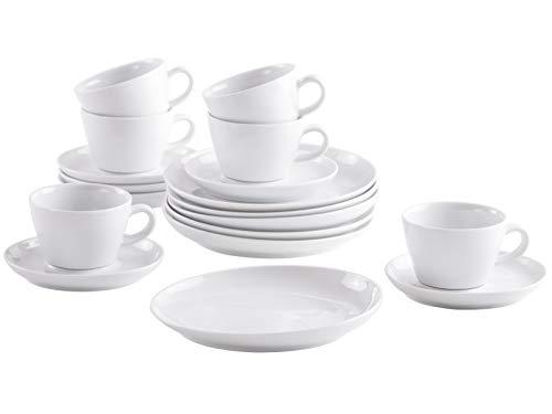Kahla 390453M90039C Five Senses weiß modern Kaffeeservice für 6 Personen Kaffeeset 18-teilig Frühstücksset Tassen Snackteller Untertasse