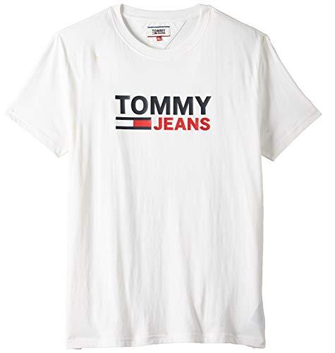 Tommy Jeans Tjm Corp Logo Tee Camicia Sportiva, Bianco (White Ybr), X-Large Uomo