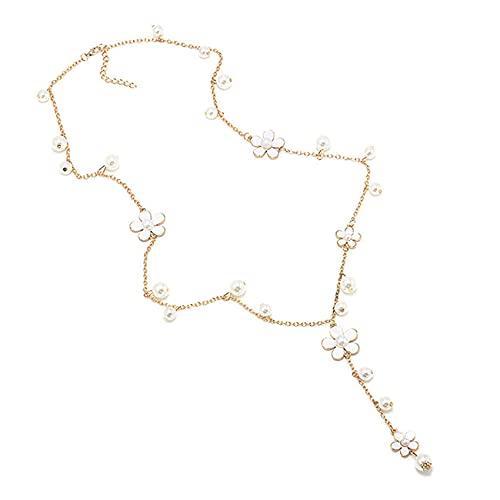 SMEJS Cadena de suéter de perlas de cinco pétalos súper hermosa, moda para mujer, collar largo con colgante de flores de estilo retro, accesorios de ropa