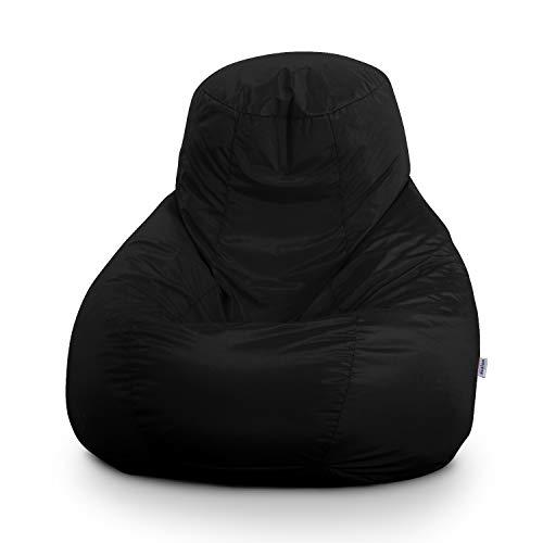 Avalon Pouf Poltrona Sacco Gigante Bag XXL Jive 100x100x110cm Made in Italy in Tessuto antistrappo Imbottito Colore Nero