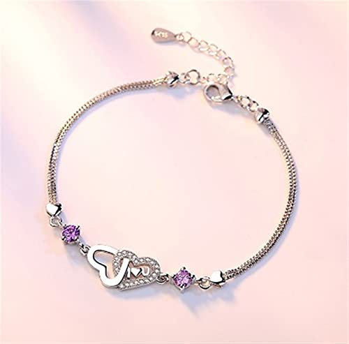 YSJJPQC Bracelets 100% 925 Sterling Silver Romantic Love Heart Shiny Crystal Ladies Charm Bracelets Jewelry Women Valentine's Day Gift Cheap (Gem Color : 8, Length : 19.5cm)