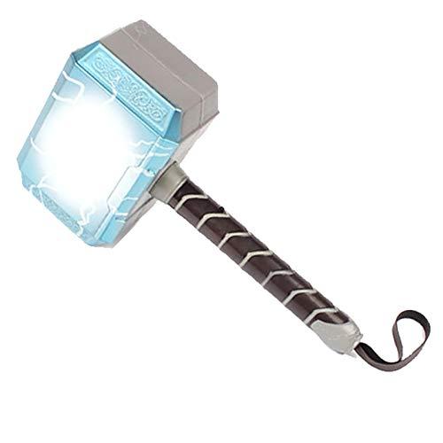 sookin Martello di Thor con Illuminazione A LED e Suono Gli Oggetti di Scena Cosplay di Thunders Hammer Halloween Martello Thor Realizzato in PVC 18cm Arma Ispirata al Supereroe