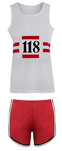 118 FANCY DRESS MENS WOMENS HEN DO STAG DO MARATHON RETRO CLOTHING WIG SET (Medium, Women's 118 Shorts and Shirt Only)