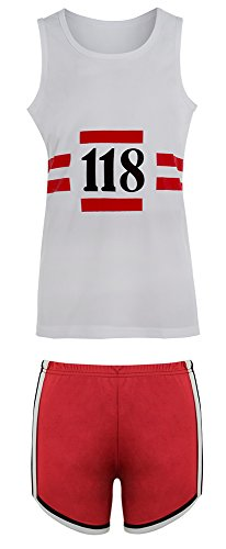 118 FANCY DRESS MENS WOMENS HEN DO STAG DO MARATHON RETRO CLOTHING WIG SET (Medium, Women's 118 Shorts and Shirt Only)