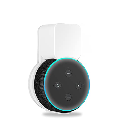 Echo Dot Wall Mount Holder for 3rd Generation, Space Saving Accessories Smart Home Speakers, Clever Echo Dot(3rd Gen) Accessories with Built-in Cable Management Without Messy Wires-White