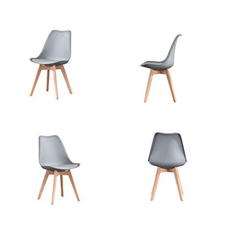 ArtDesign FR Sillas de Comedor, Juego de 4, Asiento Acolchado Suave, Patas de Madera Maciza de Haya Natural, Respaldo ergonómico (4 sillas Grises)
